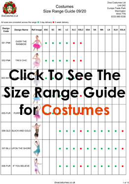 size range guide for diva costumes